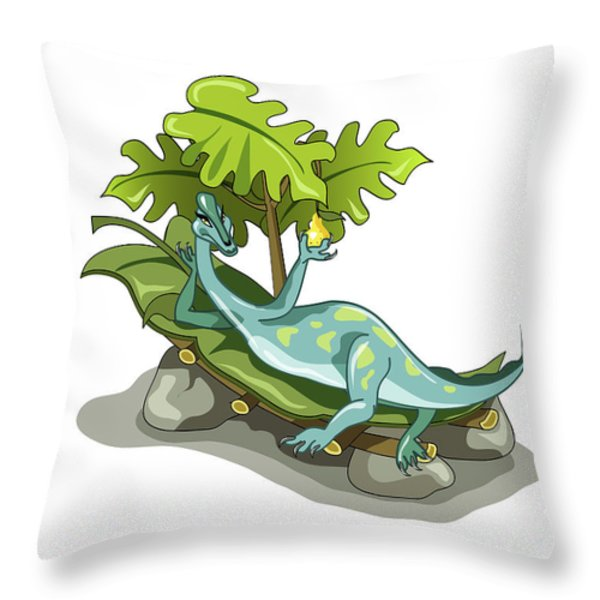 Illustration Of An Iguanodon Sunbathing Throw Pillow by Stocktrek Images