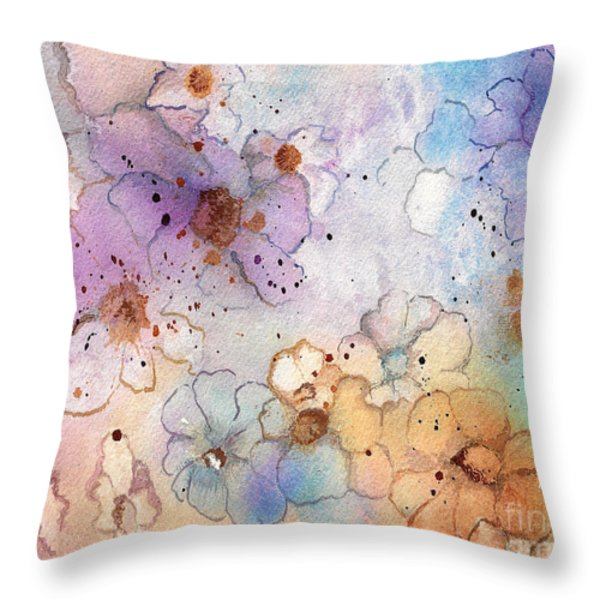 Imaginary Figments Abstract Flowers Throw Pillow by Nan Wright