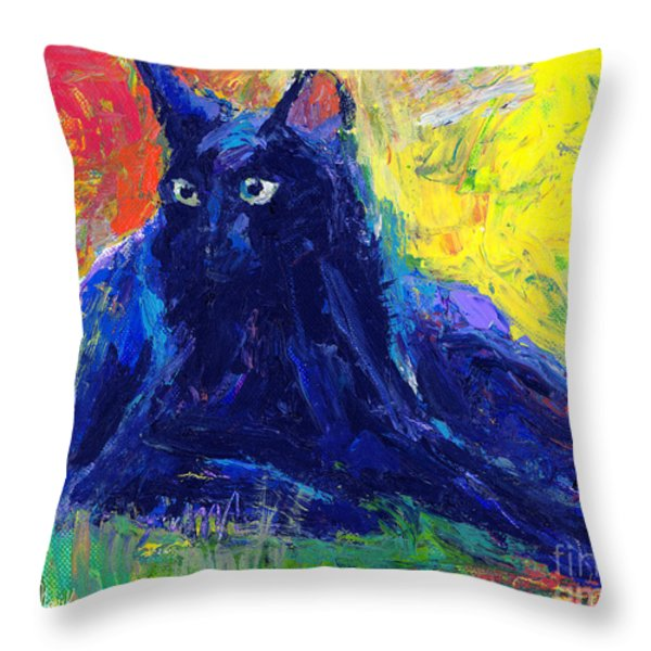 Impasto Black Cat Painting Throw Pillow by Svetlana Novikova