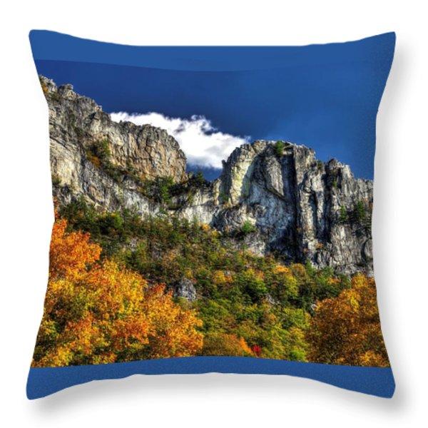 Imposing Seneca Rocks - Seneca Rocks National Recreation Area Wv Autumn Mid-afternoon Throw Pillow by Michael Mazaika