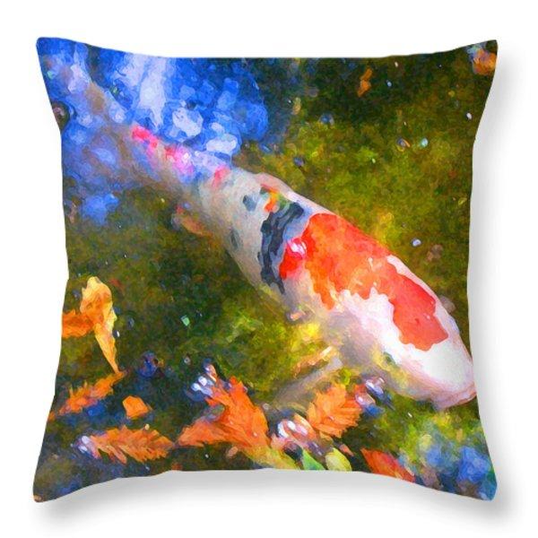 Impressionism  Koi 2 Throw Pillow by Amy Vangsgard