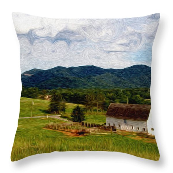 Impressionist Farming Throw Pillow by John Haldane