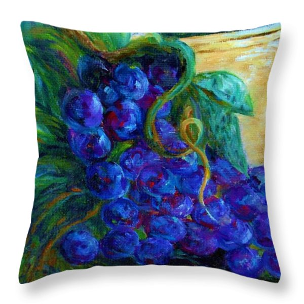 Impressionist Grapes and Wine Throw Pillow by Eloise Schneider