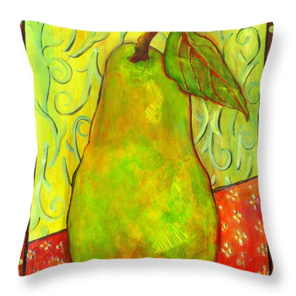 Impressionist Style Pear Throw Pillow by Blenda Studio