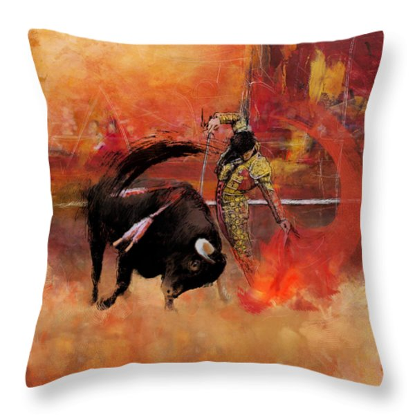 Impressionistic Bullfighting Throw Pillow by Corporate Art Task Force