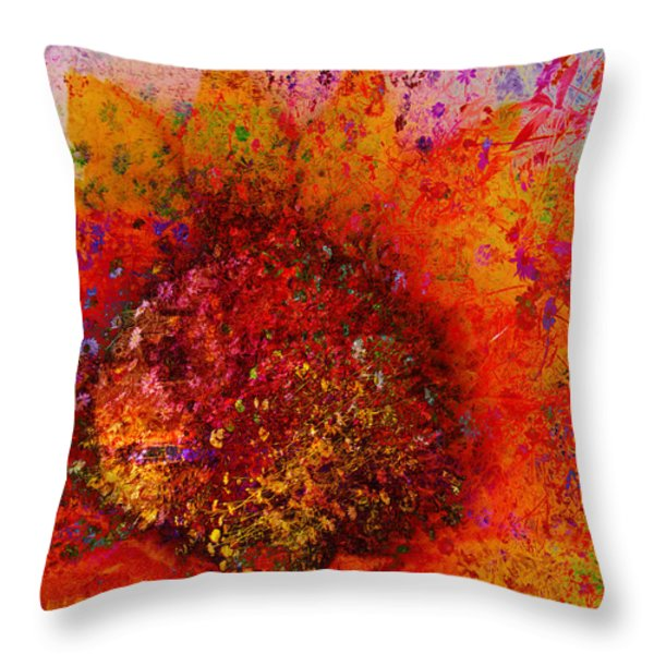Impressionistic Colorful Flower  Throw Pillow by Ann Powell