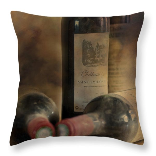 In a Corner of a Wine Cellar Throw Pillow by Nomad Art And  Design