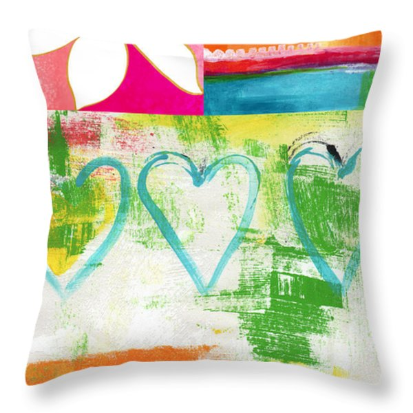 In Bloom- colorful heart and flower art Throw Pillow by Linda Woods