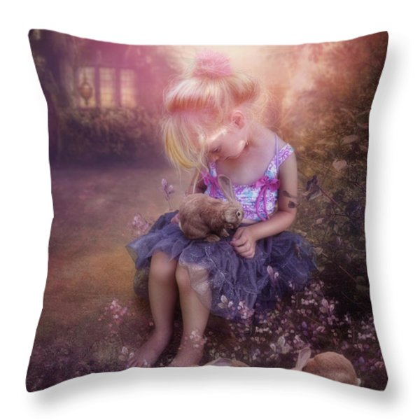 In Fairy Tales Throw Pillow by Cindy Grundsten