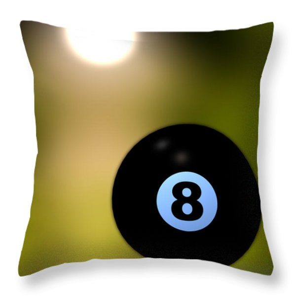In Front of the eight ball Throw Pillow by Bob Orsillo