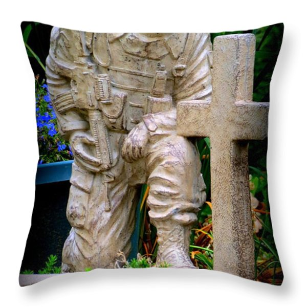 In Honor Of The Wounded Warrior Throw Pillow by Kay Novy