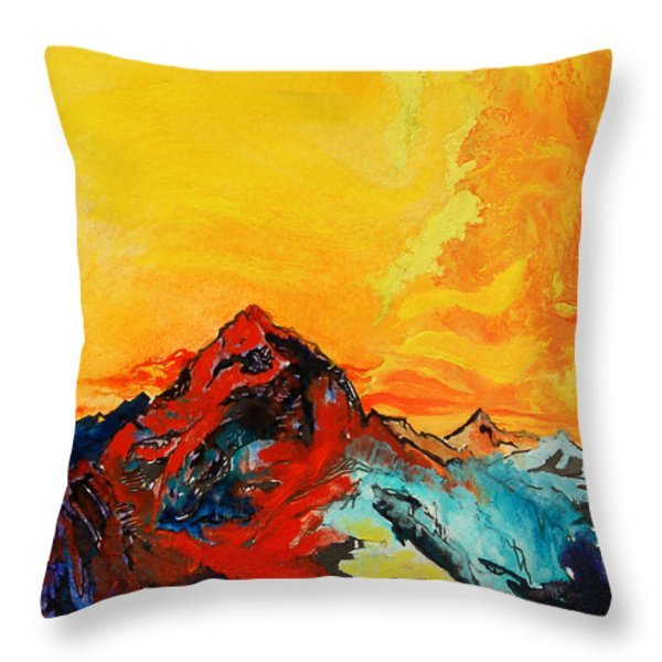 In Mountains Throw Pillow by Joseph Demaree