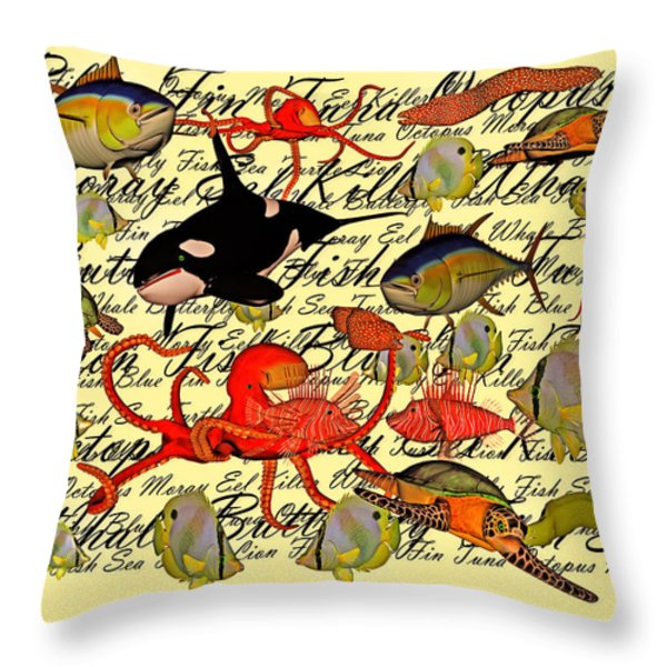 In Our Sea Throw Pillow by Betsy A  Cutler