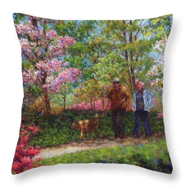 In The Azalea Garden Throw Pillow by Susan Savad
