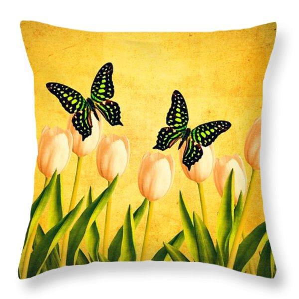 In the Butterfly Garden Throw Pillow by Edward Fielding