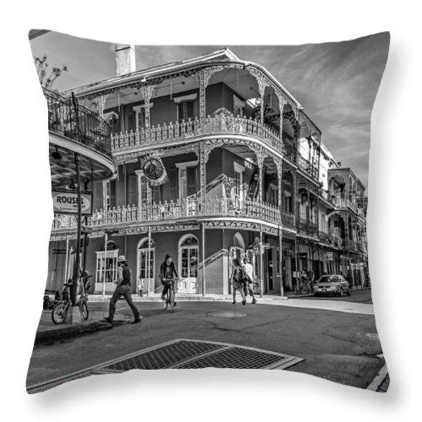 In The French Quarter Monochrome Throw Pillow by Steve Harrington