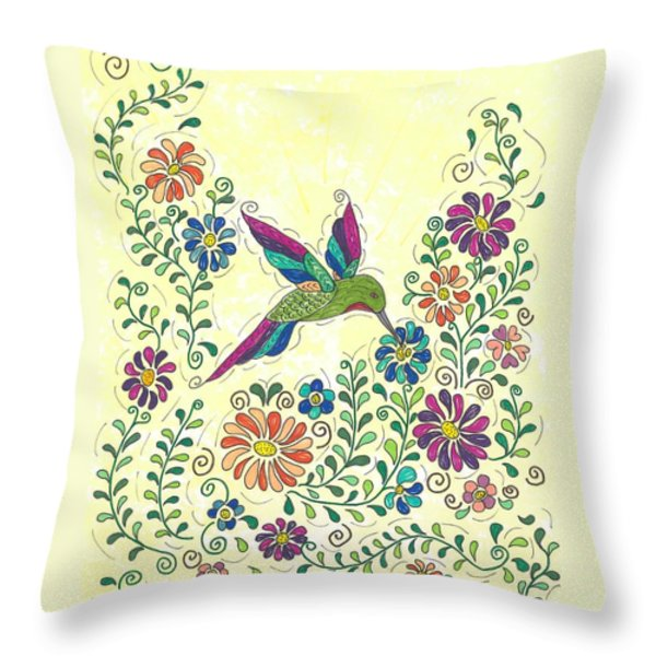In The Garden - Hummer Throw Pillow by Susie WEBER