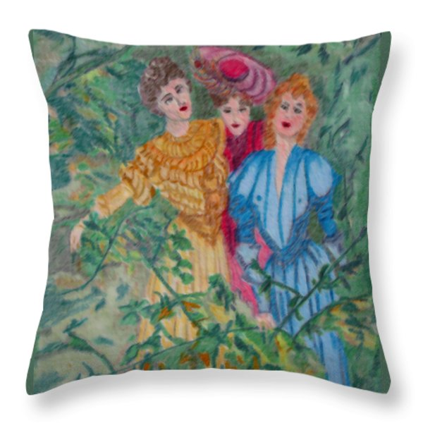 In The Garden Throw Pillow by Gail Daley