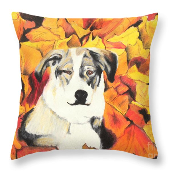 In  the leaves Throw Pillow by Jeanne Fischer
