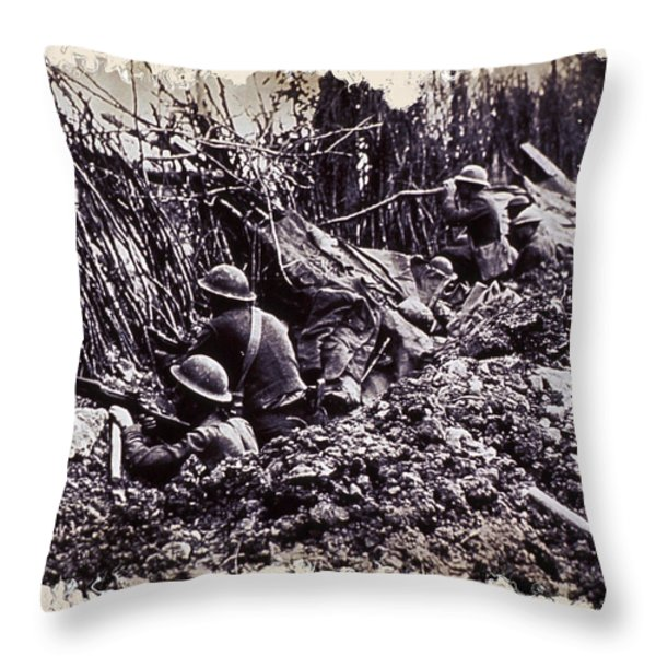 In The Trenches Throw Pillow by Daniel Hagerman