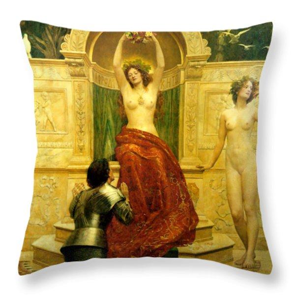 In The Venusberg Tannhauser Throw Pillow by John Collier