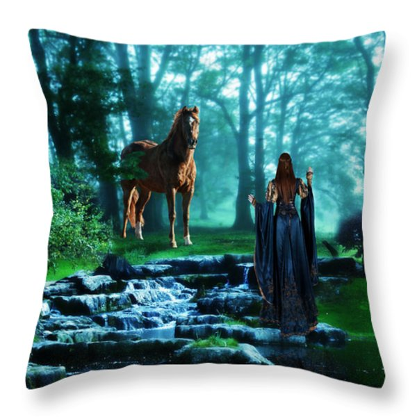 In The Woods Throw Pillow by Davandra Cribbie