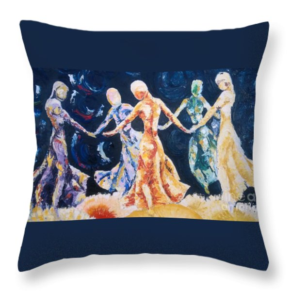 In Their Midst Throw Pillow by Rhonda Falls