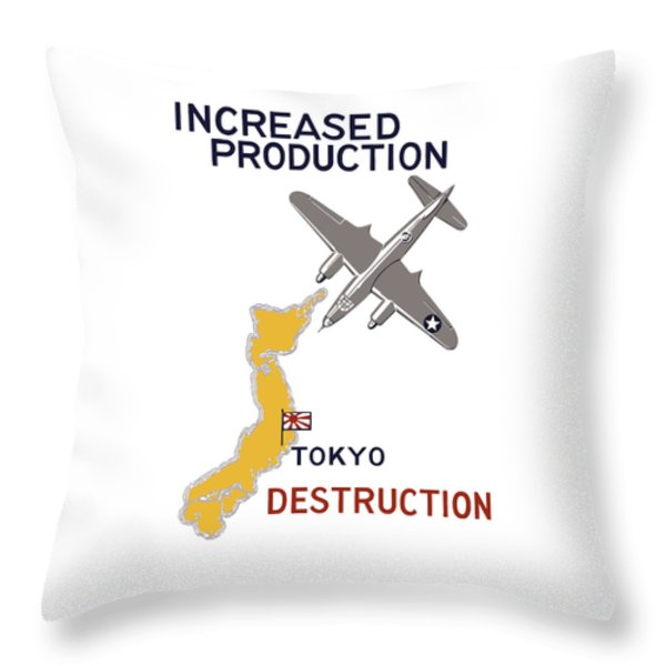 Increased Production - Tokyo Destruction Throw Pillow by War Is Hell Store