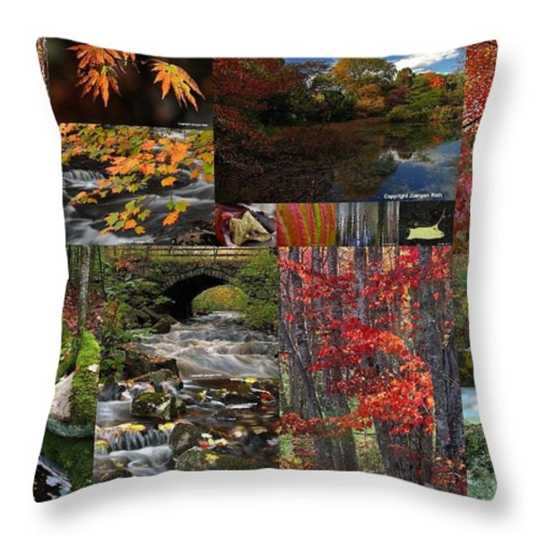 Incredible New England Fall Foliage Photography Throw Pillow by Juergen Roth