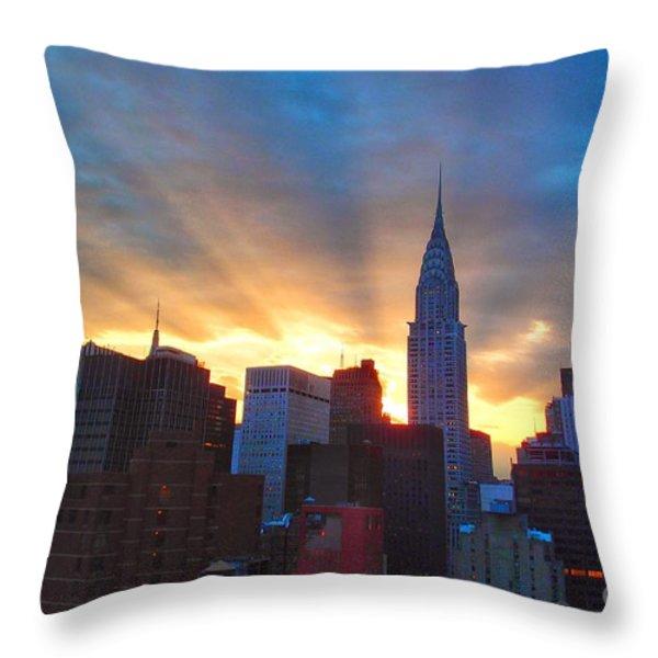 Incredible New York Skyline Sunset Throw Pillow by Miriam Danar