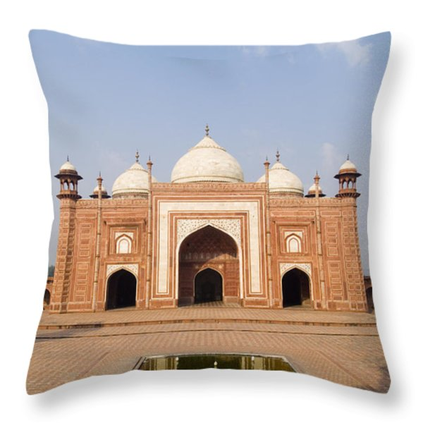India, Next To Taj Mahal Agra, Taj Throw Pillow by Bill Bachmann