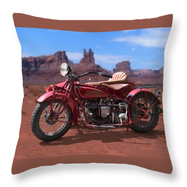 Indian 4 Sidecar 2 Throw Pillow by Mike McGlothlen