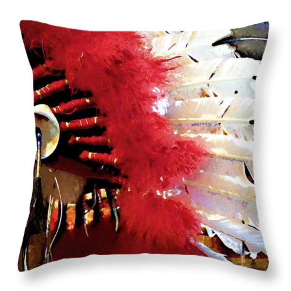 Indian Headdress Throw Pillow by Julie Palencia