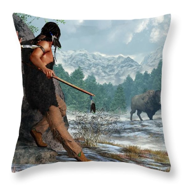 Indian Hunting With Atlatl Throw Pillow by Daniel Eskridge