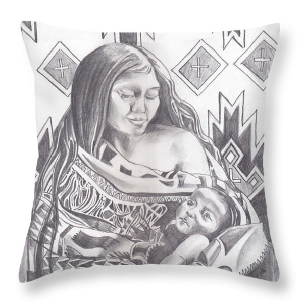 Indian Mother and Child Throw Pillow by John Keaton