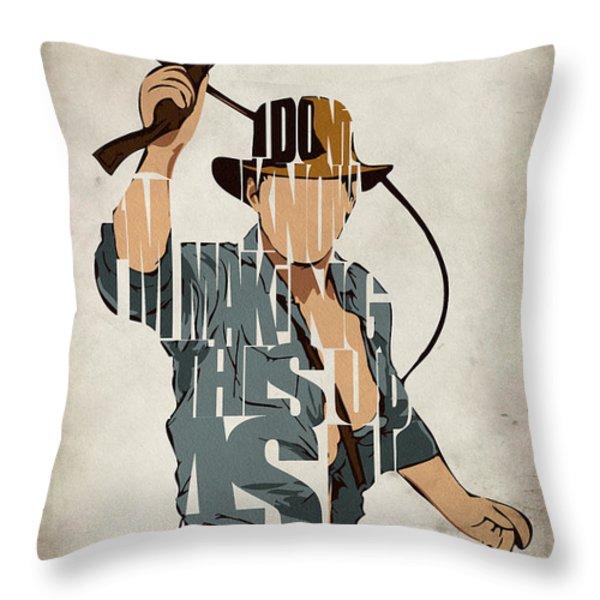 Indiana Jones - Harrison Ford Throw Pillow by Ayse Deniz