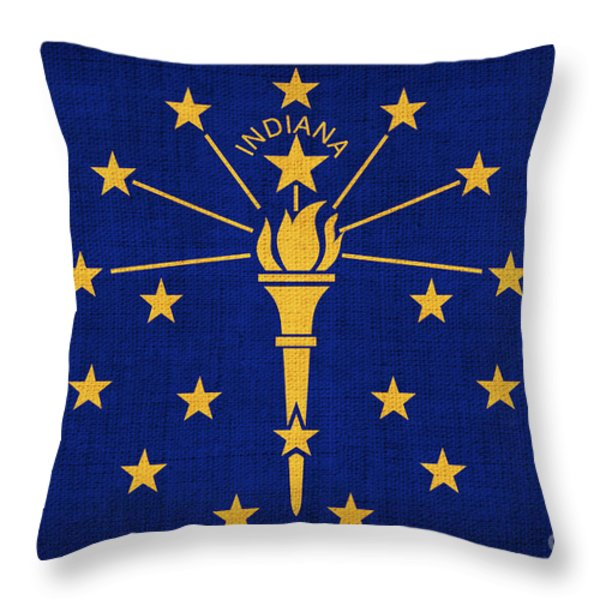 Indiana State Flag Throw Pillow by Pixel Chimp