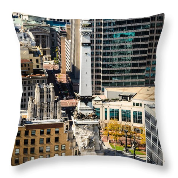 Indianapolis Aerial Picture of Monument Circle Throw Pillow by Paul Velgos