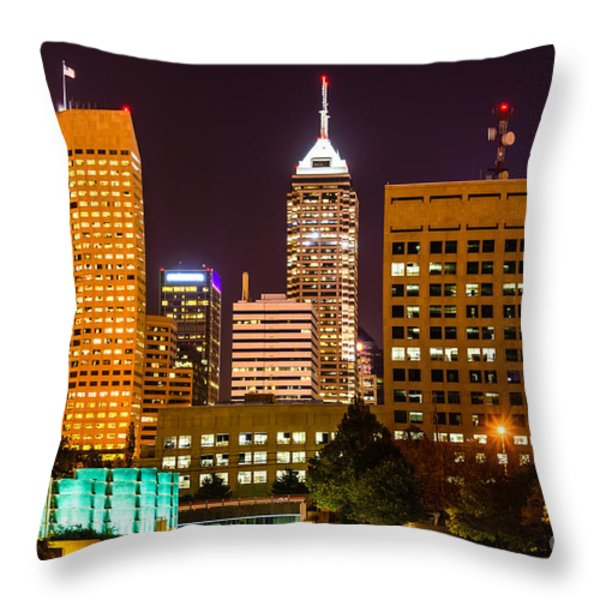 Indianapolis Skyline At Night Picture Throw Pillow by Paul Velgos