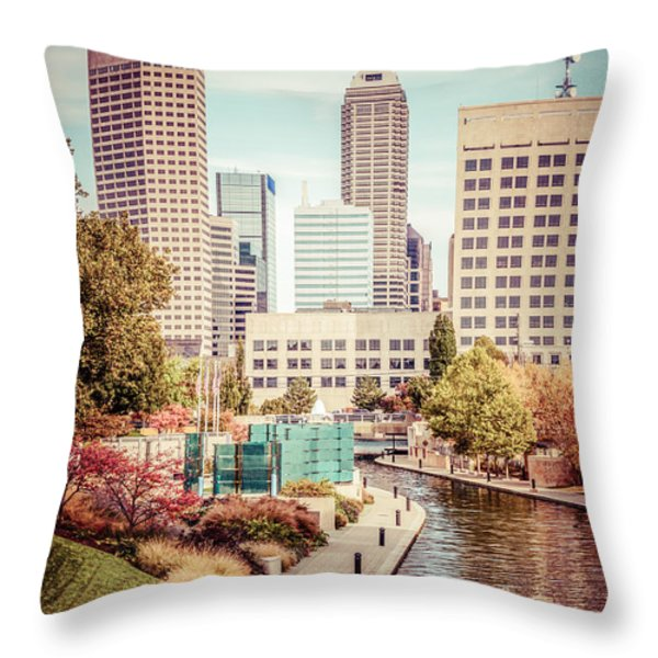 Indianapolis Skyline Old Retro Picture Throw Pillow by Paul Velgos