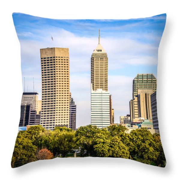 Indianapolis Skyline Picture Throw Pillow by Paul Velgos