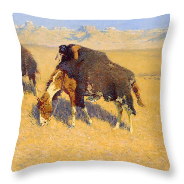 Indians Simulating Buffalo Throw Pillow by Fredrick Remington