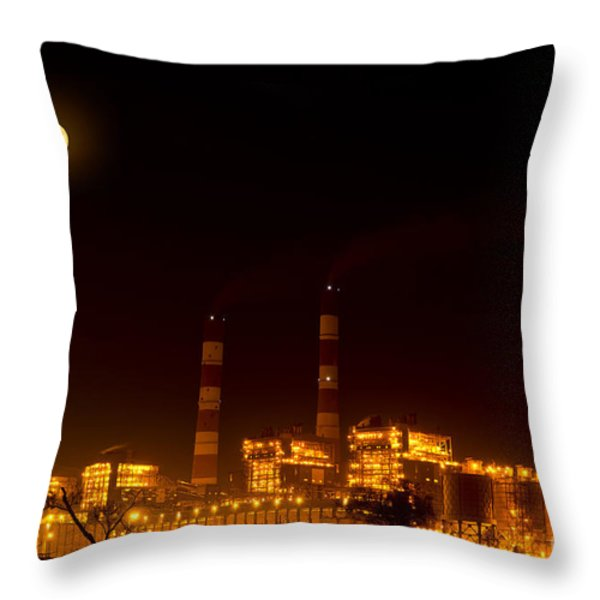 Industrial light in full moon night Throw Pillow by Image World
