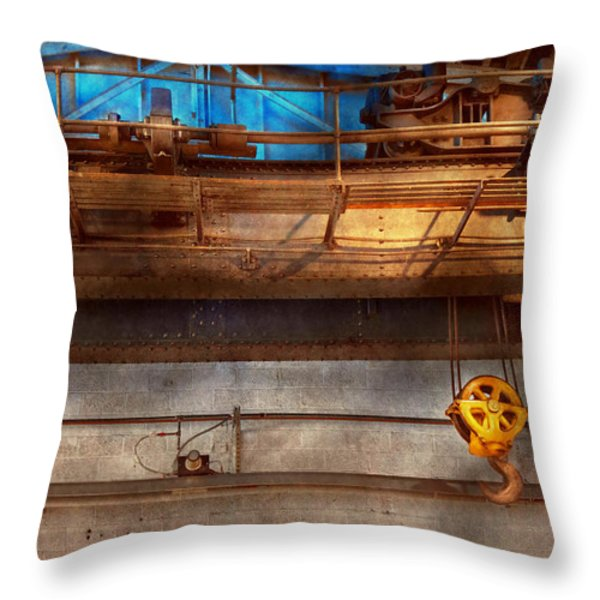 Industrial - The Gantry Crane Throw Pillow by Mike Savad