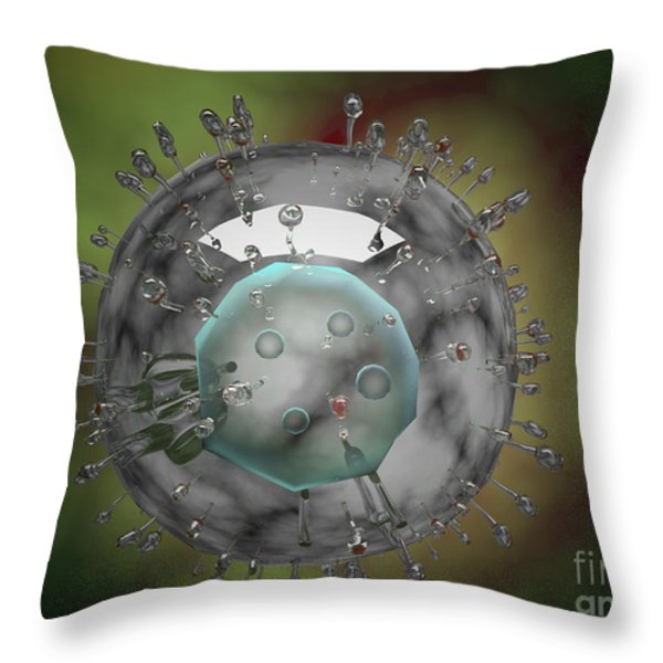 Influenza Virus, Glassy Look Throw Pillow by Stocktrek Images