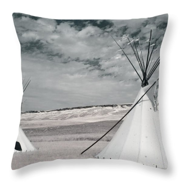 Infrared Image Of Native American Tipis Throw Pillow by Roberta Murray