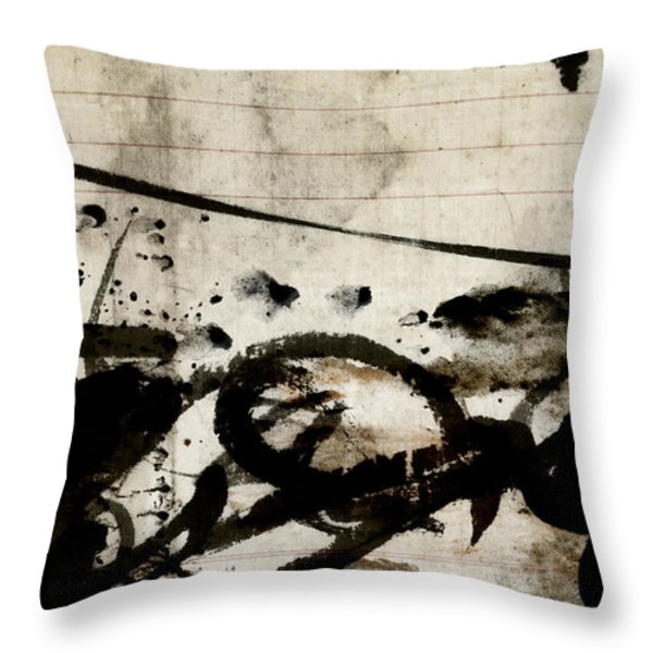 Ink and Paint on Vintage Ledger Paper Throw Pillow by Carol Leigh