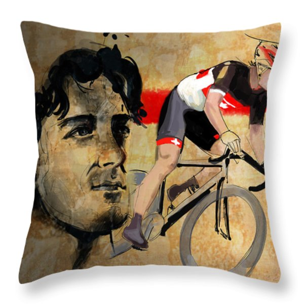 Ink portrait illustration print of Cycling Athlete Fabian Cancellara Throw Pillow by Sassan Filsoof