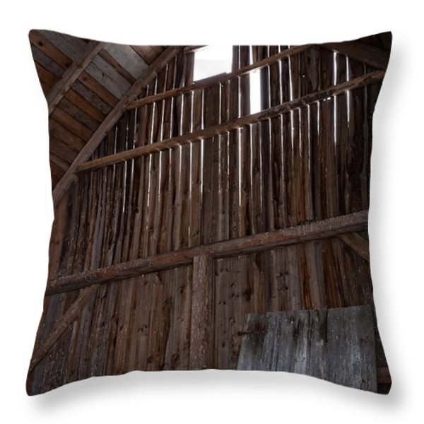 Inside an old barn Throw Pillow by Edward Fielding