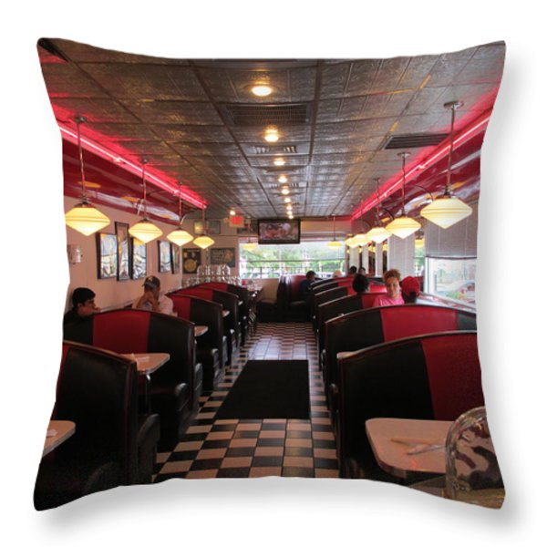 Inside The Diner Throw Pillow by Randall Weidner